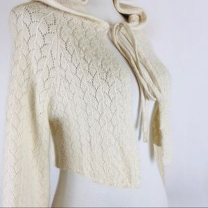 Free People ivory angora shrug with pearls